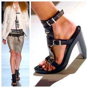 Ann Demeulemeester Black Leather Gladiator Heel 37